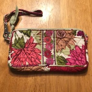 Red and Pink Flowered Wristlet